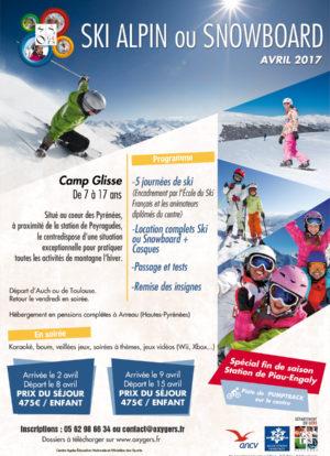 flyer oxygers vacances ski enfants ados avril pyrénées