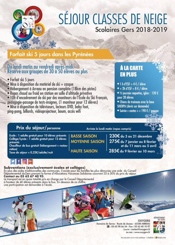 classes de neige ski et snowboard pyrénées Oxygers colonie de vacances, classes ski découverte enfants et ados