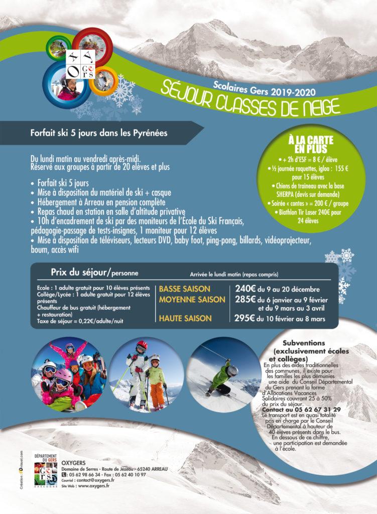 classe de neige et sejours ski scolaire Gers 2020