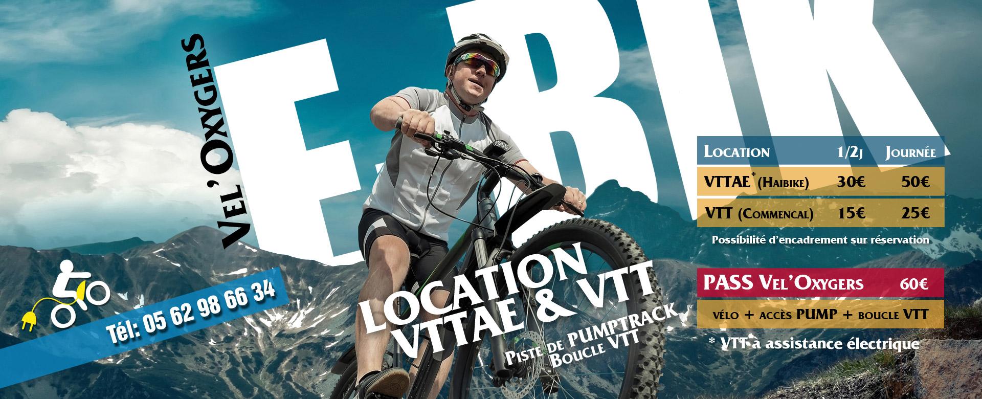 location vtt e-bike pyrénées montagne Oxygers, location séjours VTT electrique