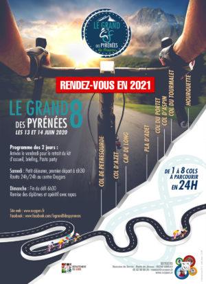 affiche le grand 8 des pyrenees course de velo trail
