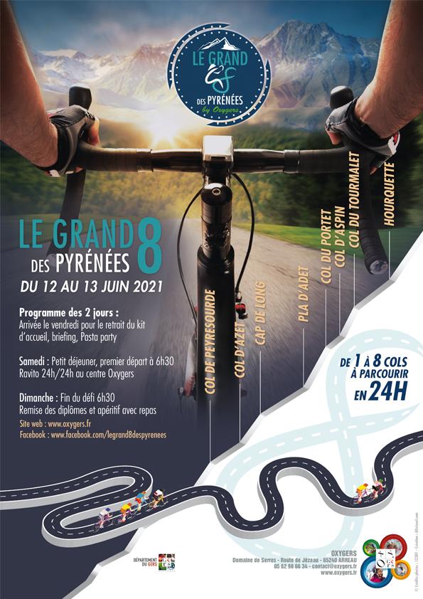 affiche le grand 8 des pyrenees course de velo randonnée cycliste