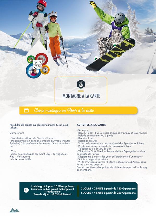 classe de neige montagne à la carte oxygers 2020 2021