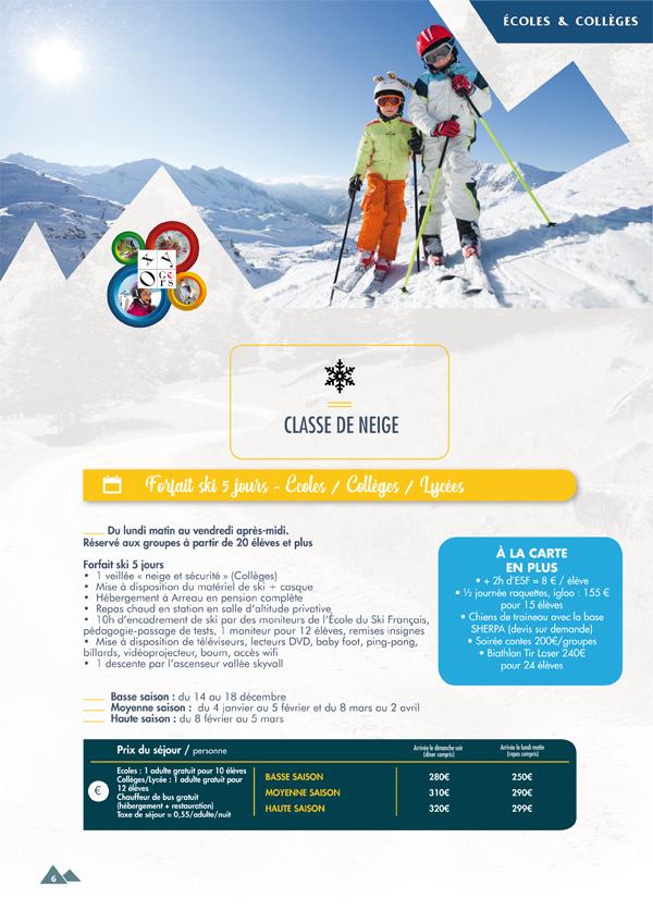 classes de neige pyrenees oxygers 2020 2021 forfait ski