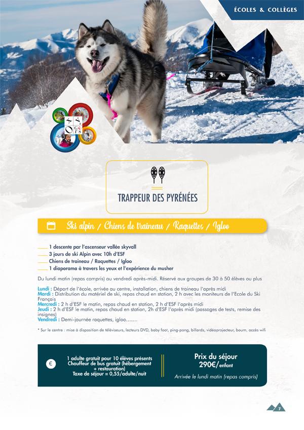 classes de neige trappeurs pyrenees oxygers 2020 2021